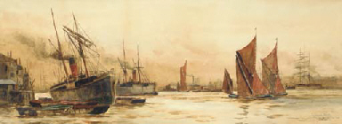 Steamships and sailboats on th