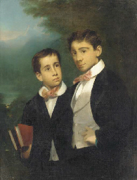 Portrait of two boys with pink