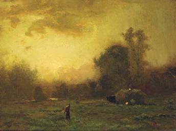 Figures harvesting at dusk