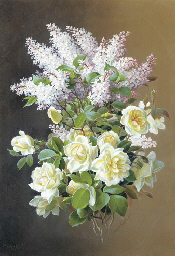 A spray of roses and lilac; al