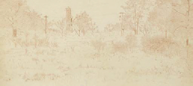 Landscape with trees; also a c