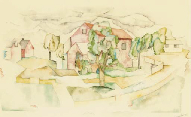 Landscape with houses and tree