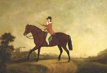 An equestrian portrait of a bo