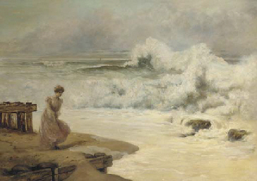 A lady on the shore