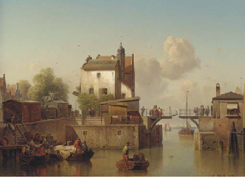 A canal with figures embarking