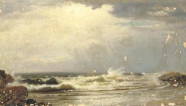 Waves breaking ashore