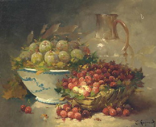 Still life with plums in a bow