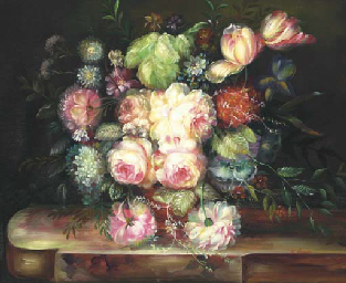 Flowers in a vase on a wooden