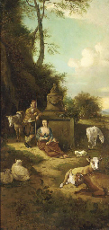 Figures, cows and sheep in an