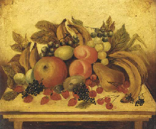 Still life with fruit on a tab