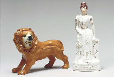A PAIR OF STAFFORDSHIRE EARTHE