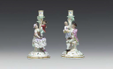 A PAIR OF MEISSEN FIGURAL CAND