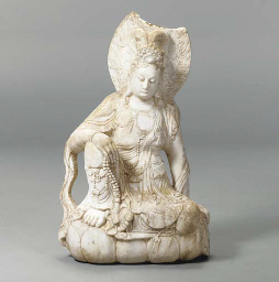 A WHITE MARBLE FIGURE OF A SEA