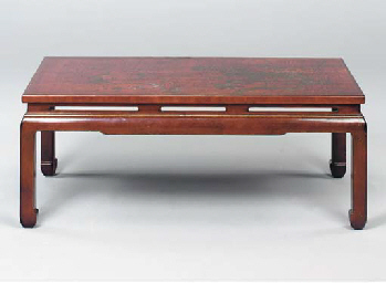 A RED LACQUER LOW TABLE,
