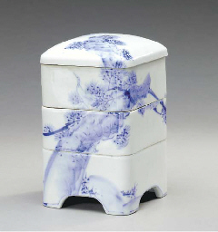 TWO PORCELAIN THREE-TIERED COV