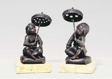 PAIR OF PATINATED BRONZE FIGUR