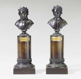 PAIR OF PATINATED BUSTS ON COL