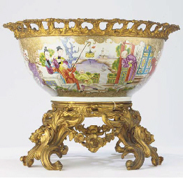 A Chinese famille rose ormolu-