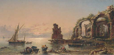 Fisherfolk at the ruins