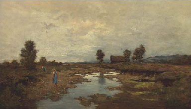 Flower pickers on the river ba