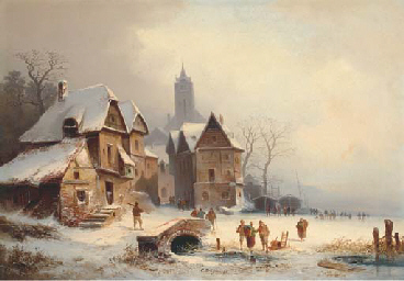 Skaters by a German hamlet