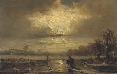 Skaters on a moonlit river