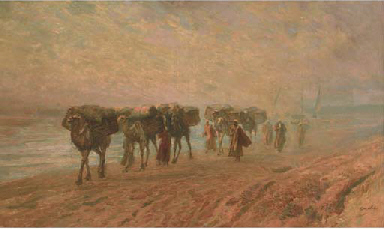 A camel train on the banks of