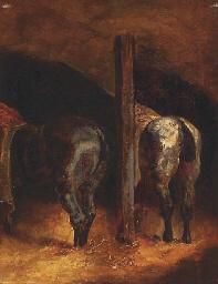 Deux chevaux dans une écurie