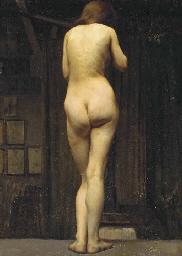 Femme nue, en pied, vue de dos