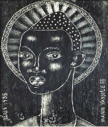 Tête de femme en noir