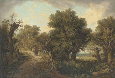 Figure by a pond in a wooded l