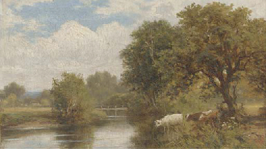 Cattle watering; and A shepher