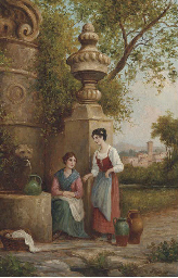 Young maidens gossiping while
