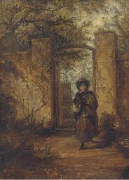At the garden door
