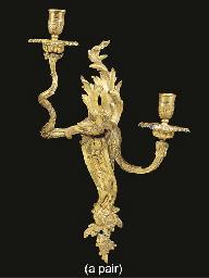 A pair of Louis XV gilt metal