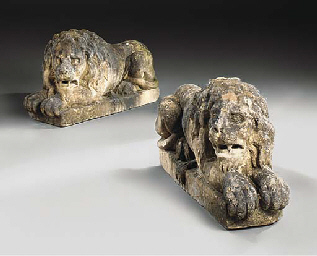 A PAIR OF CARVED STONE MODELS