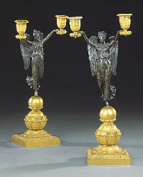 A PAIR OF EMPIRE BRONZE AND OR