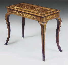 A WALNUT AND MARQUETRY SIDE TA