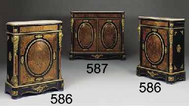 A FRENCH BRASS MARQUETRY AND G