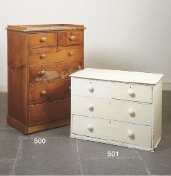 A VICTORIAN PINE CHEST OF DRAW