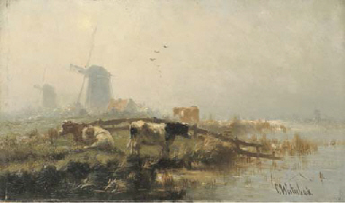 CATTLE BY AN ESTUARY, WINDMILL