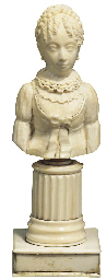 A FRENCH CARVED IVORY BUST OF