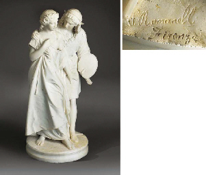 AN ITALIAN CARVED WHITE MARBLE