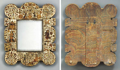 A CHARLES II STRAW-WORK MIRROR