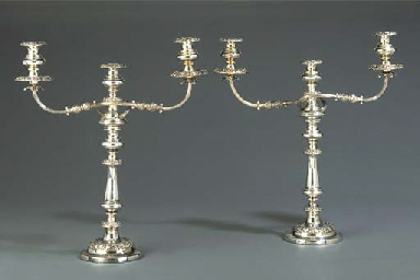 A PAIR OF SILVER-PLATE THREE L