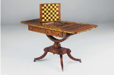A REGENCY MAHOGANY, BIRCH CROS