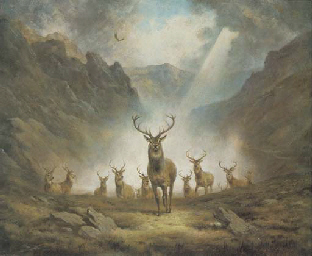 A HERD OF STAGS ON A HILL