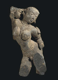 A Gray Stone Figure of a Yaksh
