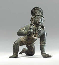 A Bronze Figure of Baby Krishn