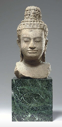 Large Sandstone Bust of a Radiating Avalokiteshvara